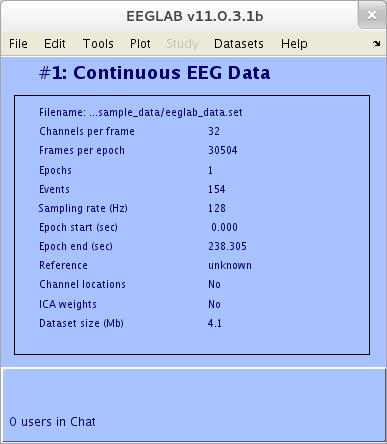 اطلاعات مربوط به داده در eeglab